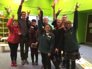 The education team at ZSL London Zoo learning key ANIMAL signs