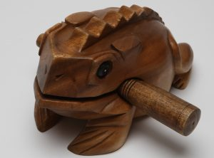 Our large wooden FROG guiro – great for promoting attention and listening skills