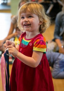 The toddlers love all our different colourful ribbons, scarves and toys