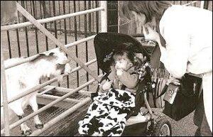 "Ella signing ""GOAT"" at the farm"