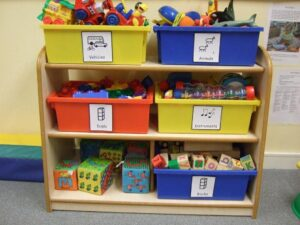 Using Makaton symbols to label play boxes
